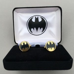 Batman Cuff Links Vintage Goldtone